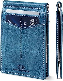 RFID Blocking Wallet Slim Bifold - Genuine Leather Minimalist Front Pocket Wallets for Men with Money Clip