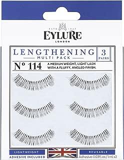 Eylure Lengthening False Eyelash Multipack, Style No. 114, Reusable, Adhesive Included, 3 Pair