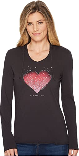 Life is Good Heart Love Hooded Smooth Tee