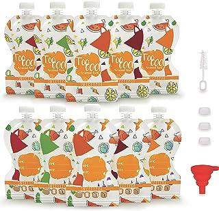 Sweety Fox – 10 x Quetschies återanvändbar 150 ml – BPA-fri och PVC-fri – läckagesäker dubbel dragkedja – lätt påfyllning,...