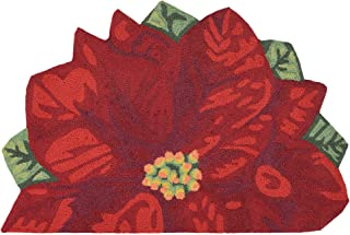 Liora Manne Front Porch Christmas Poinsettia Red Indoor/Outdoor Circle Half Round Rug, 2'6
