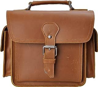 Leather Camera Bag ZLYC Vintage DSLR SLR Bag Removable Shockproof Padded Camera Case Small Messenger Shoulder Bag Satchel, Brown