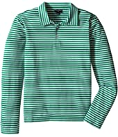 Oscar de la Renta Childrenswear - Stripe Long Sleeve Polo (Toddler/Little Kids/Big Kids)