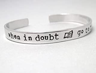 Harry Potter Bracelet - When In Doubt Go to the Library - Hand Stamped Aluminum Cuff - customizable