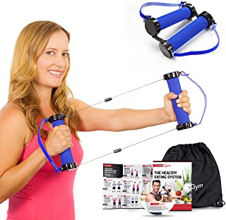 Gwee Gym - Resistance Bands Exercise Kit, LITE, Blue Exercise Bands, Build Lean Muscle with Workout Bands, Easily Portable, Includes an Accessory Kit, DVD, Travel Bag & Healthy Eating e-Book