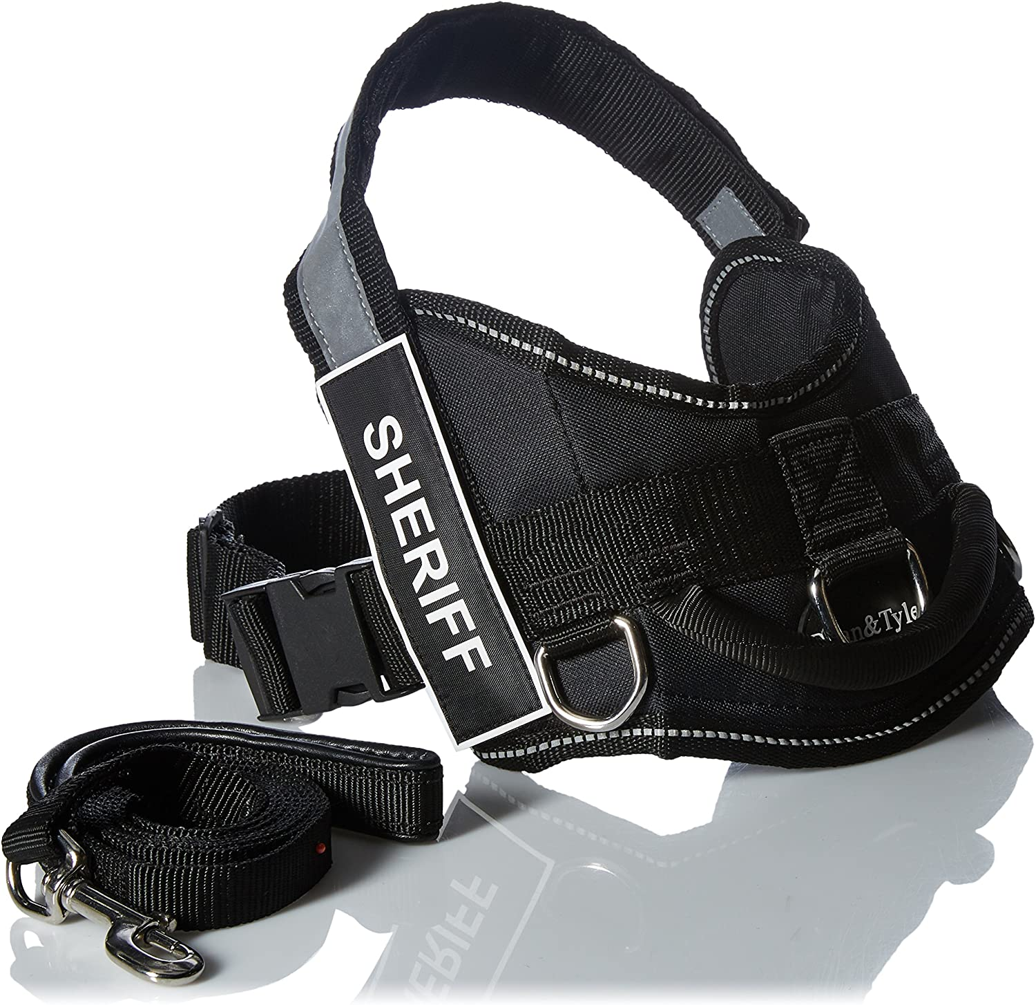 Dean and Tyler Bundle  One DT Works  Harness, Sheriff, Small (25   34 ) + One Padded Puppy  Leash, 6 FT Stainless Steel Snap  Black