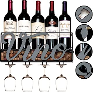 MKZ Products Wall Mounted Wine Rack | Wine Bottle Holder| Hanging Stemware Glass Holder | Cork Storage | Storage Rack | Home & Kitchen Decor (Vino)
