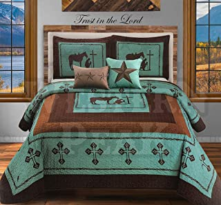 Western Peak 5 Pc Western Texas Cross Lodge Barbed Wire Quilt Bedspread Shams Pillow Oversize Comforter (Turquoise Praying...