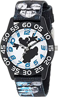 Disney Boys' Mickey Mouse Analog-Quartz Watch with Nylon Strap, Black, 16 (Model: WDS000125