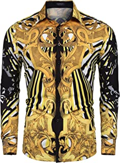 COOFANDY Men's Floral Dress Shirt Slim Fit Casual Fashion Luxury Printed Shirt Long Sleeve Button Down Shirts