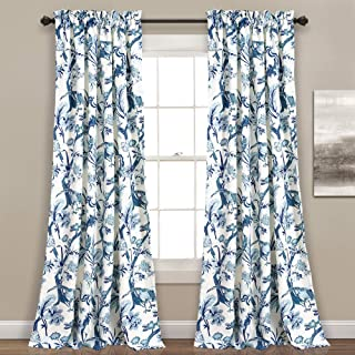 """Lush Decor, Blue Curtains Dolores Darkening Window Panel Set for Living, Dining Room, Bedroom (Pair), 108"""" x 52"""""""