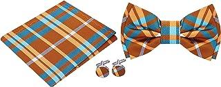 Twenty Dollar Tie Men`s Plaid Pre-Tied Bow Tie Pocket Square Cuff-links Set