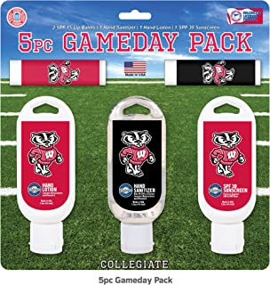 Worthy Promo NCAA Wisconsin Badgers 5-Piece Game Day Pack with 2 Lip Balms, 1 Hand Lotion, 1 Hand Sanitizer, 1 SPF 30 Sport Sunscreen
