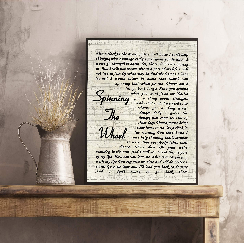 Cita de la canción de Spinning The Wheel Vintage Script con ...