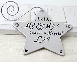 Mr and Mrs Ornament, Our First Christmas, Married Couple Tree Decoration, 1st Wedding Anniversary