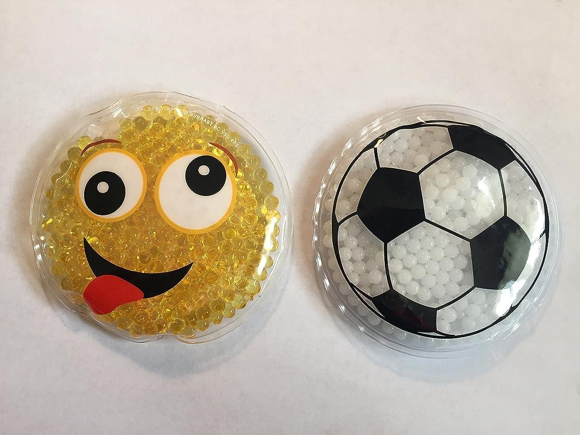 Set of 2 Kids -Child Reusable Animal Shaped Cold Packs (Emoji Smiley Face, Soccer Ball)