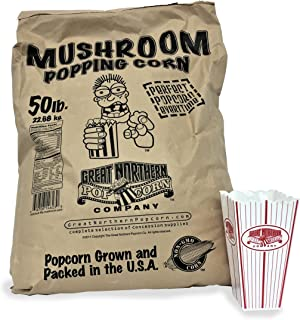 4102 Great Northern Popcorn Gourmet Mushroom Popcorn Bulk Bag Premium Grade, 50 Pound