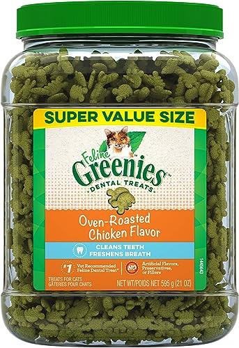 FELINE GREENIES Natural Dental Care Cat Treats, Chicken Flavor, All Bag Sizes
