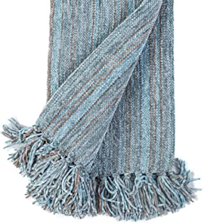 "DECOMALL Decorative Throw Blanket with Fringe Soft Striped Multi Color Throws for Couch Sofa Armchair Bed 50""x 60"", Blue Multi"