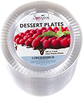 100 Disposable Clear Plastic Dessert Plates (7-inch)