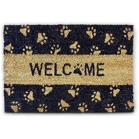 Relaxdays Welcome – Felpudo con Motivo de patitas para la Entrada de su hogar Hecho de Fibras de Coco y PVC con Medidas 40 x 60 cm Antideslizante Elemento Decorativo, Color Natural y Negro
