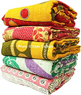 Stylo Culture Indian Antique Sari Quilts Wholesale Twin Printed Kantha Bengali Gudri Blanket Vintage Throw Quilts Vintage Ralli Gudri lot of 5 Pc