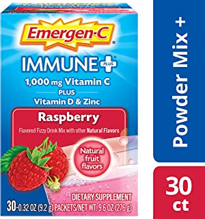 Emergen C Immune Plus Raspberry Fizzy Drink Mix, 0.3 Ounce - 30 per case.