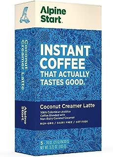 Alpine Start Premium Instant Coffee, Non-Dairy Coconut Creamer Latte, 5 Single Packets, 100% High Altitude Colombian Arabica Coffee, 3.72 oz, Non-GMO, Dairy Free, Soy Free