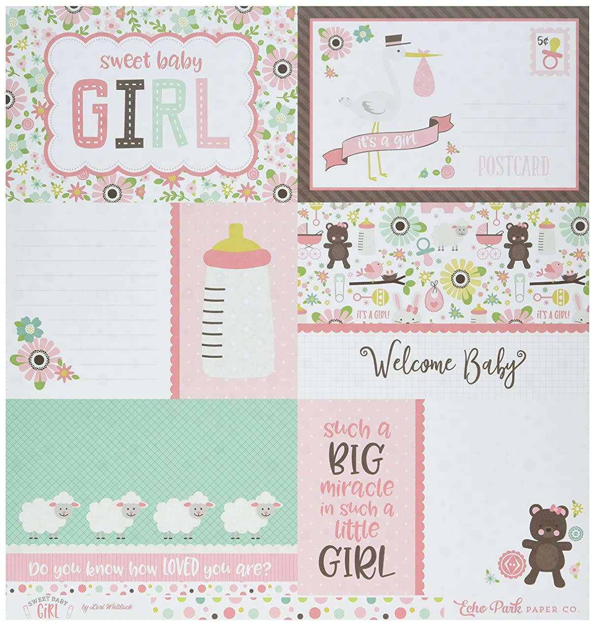 Echo Park Paper Journaling Cards/Multi Dots Sweet Baby Girl Double-Sided Cardstock 12