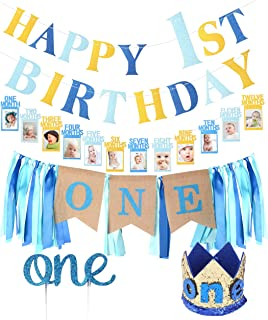 FIRST BIRTHDAY DECORATION SET FOR BOY- 1st Baby Boy Birthday Party, Blue Hat Crown, High Chair Banner - | Happy Birthday ONE Burlap Banner | 1st Birthday Baby Photo Banner for Newborn to 12 Months, Monthly Milestone Photograph Bunting Garland, First Birthday Celebration Decoration| Cake Smash Party Supplies
