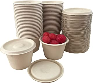 4 Ounce Souffle Cups and Lids - 100% Biodegradable and Compostable - Bagasse/Wheat Fiber - 50 Pack