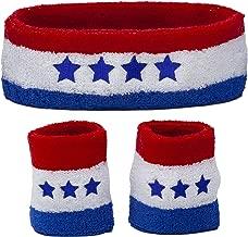 Funny Guy Mugs Patriotic America Unisex Sweatband Set (3-Pack: 1 Headband & 2 Wristbands)