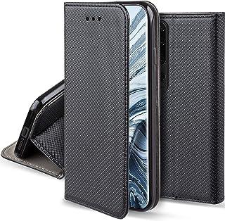 Moozy Funda para Xiaomi Mi 10 y Xiaomi Mi 10 Pro, Negra - Flip Cover Smart Magnética con Soporte y Cartera para Tarjetas