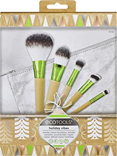 EcoTools Holiday Vibes Makeup Brush Gift Set with Travel Brush Bag, Stocking Stuffer, Set of 6