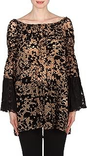 Ruffle Sleeve Velvet Flock Tunic Style 173536