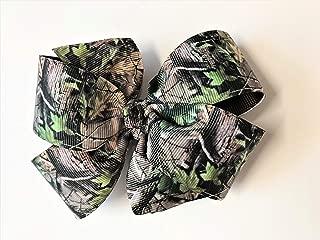 Girls Tan Brown Green Camouflage Hair Bow Handmade Teen Camo Hair Accessory