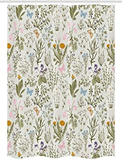 Ambesonne Floral Stall Shower Curtain, Vintage Garden Plants with Herbs Flowers Botanical Classic Design, Fabric Bathroom Decor Set with Hooks, 54