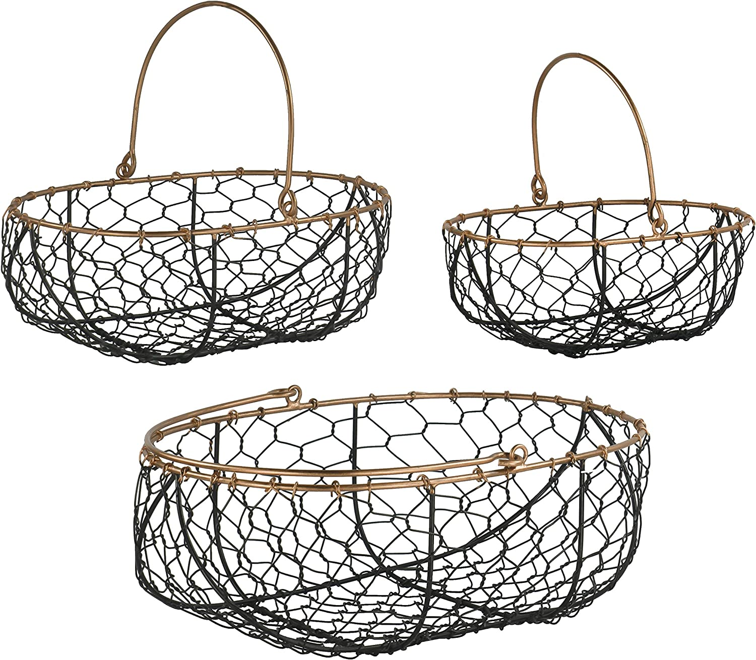 Red Co. Farmhouse Decor Metal Wire Gathering Basket Storage Organizers with Handles for Home, Kitchen, Cabinets, Bathroom, Set of 3
