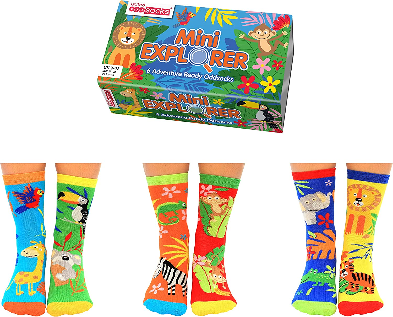United Oddsocks Box of 6 Oddsocks For Kids- Mini Explorers UK 9-12, EUR 27-30 US 9.5-13