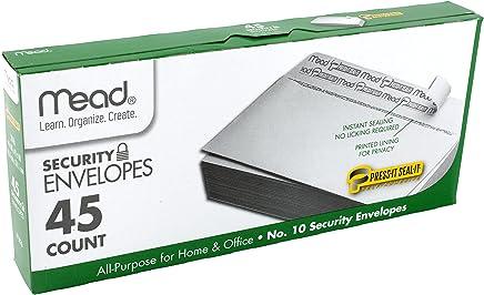 "Mead #10 Envelopes, Security, Press-it Seal-it, 4-1/8"" X 9-1/2"", White, 45 Per Box (75026)"
