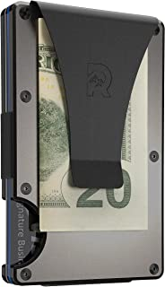 Slim Minimalist Front Pocket RFID Blocking Metal Wallets for Men with Money Clip (Gunmetal)