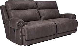 Ashley Furniture Signature Design - Austere Recliner Sofa - Manual Pull Tab Reclining Couch - Contemporary - Gray
