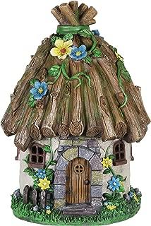 Exhart Twigs Roof Fairy House Outdoor Decor - Fairy Cottage Resin Statue with Solar Garden Lights, Miniature Fairy Hut Solar Home Decor for a Magical Fairy Garden, 9