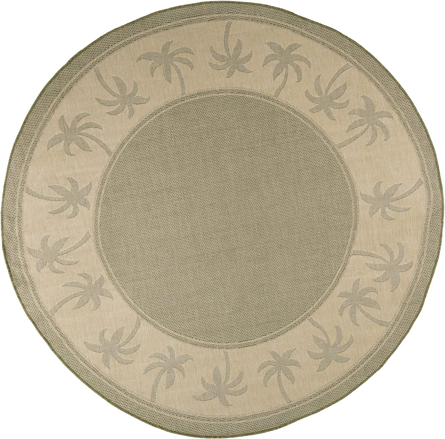 Amazon Com Round Area Rug 8 Foot Stain Resistant Indoor Outdoor Round Rug With Palm Tree Design By Lavish Home Green And Beige Accent Rug For Home Décor Furniture Decor
