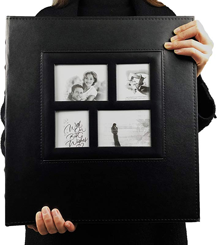 RECUTMS Photo Album 4x6 600 Photos Black Pages Large Capacity Leather Cover Wedding Family Photo Albums Holds 600 Horizontal And Vertical Photos Black