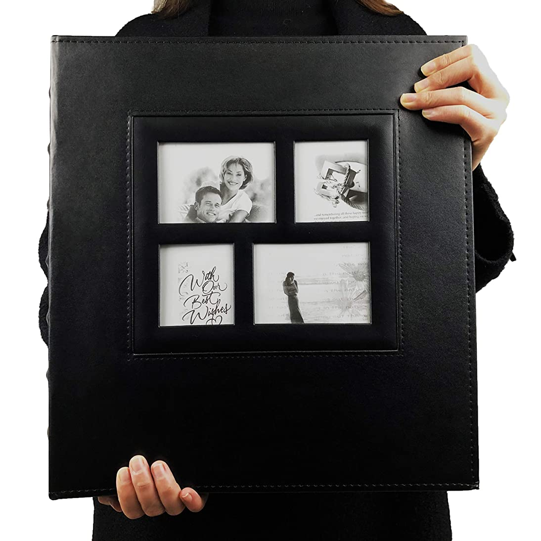 RECUTMS Photo Album 4x6 600 Photos Black Pages Large Capacity Leather Cover Wedding Family Photo Albums Holds 600 Horizontal and Vertical Photos (Black) chwb785804359446