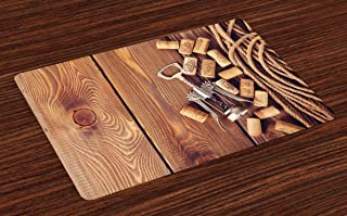 Ambesonne Winery Place Mats Set of 4, Wine Corks Rustic Wooden Ground Natural Organic Liquor Elements Vintage Harvest Top View, Washable Fabric Placemats for Dining Room Kitchen Table Decor, Umber