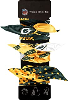 Littlearth Women's NFL Wired Hair Tie, Green, Set of 3