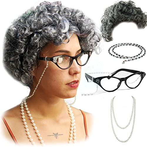Vibe Old Lady Wig Costume Set, Gray Hair Granny Wig with Pearl Necklace, Glasses, Glass Chain Accessories, 5 Pieces T...