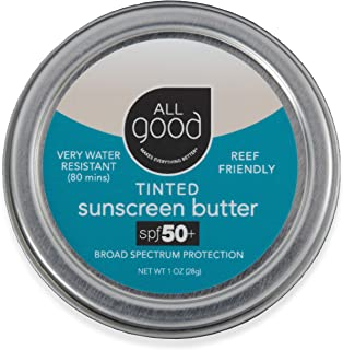 All Good Tinted Mineral Sunscreen Butter - Zinc Oxide - Coral Reef Safe - Water Resistant - UVA/UVB Broad Spectrum - SPF 5...